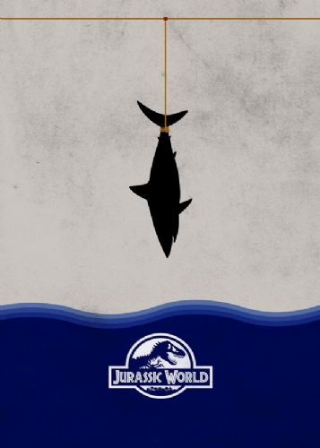 2010's Movie - JURASSIC WORLD - SHARK MINIMAL canvas print - self adhesive poster - photo print